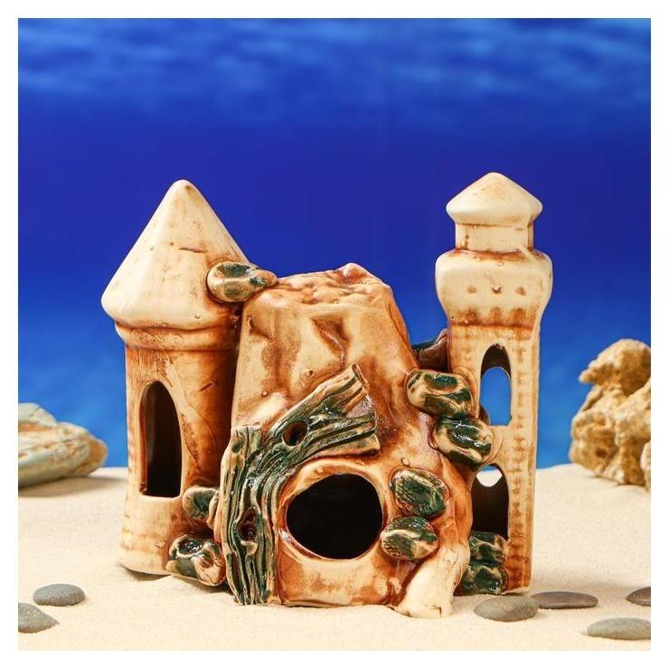 """Декорация для аквариума """"Замок со скалой"""" , 14 х 17 х 21 см  Керамика ручной работы"""