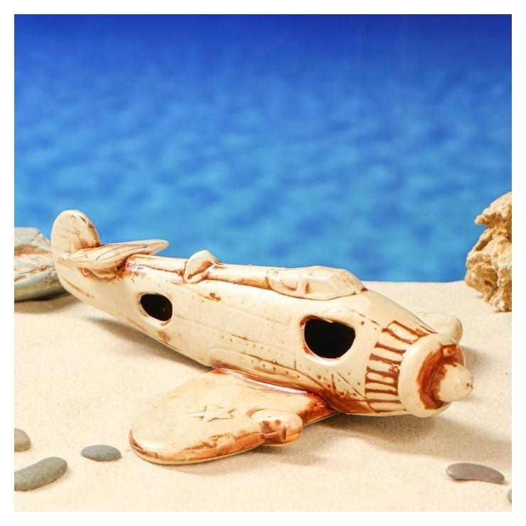 """Декорация для аквариума """"Самолет"""", 24 х 30 х 7 см  Керамика ручной работы"""