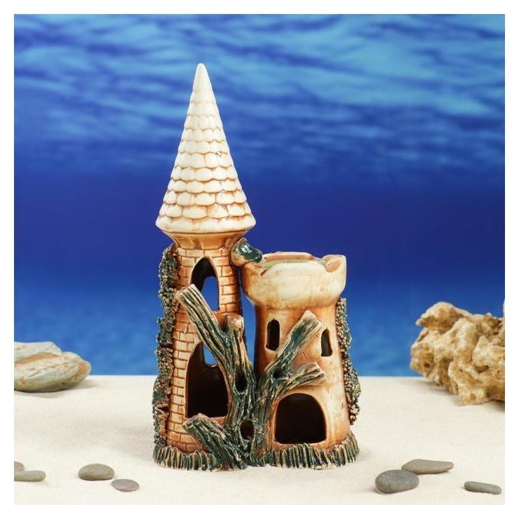 """Декорация для аквариума """"Замок острый с башней"""", 8 х 15 х 28 см  Керамика ручной работы"""