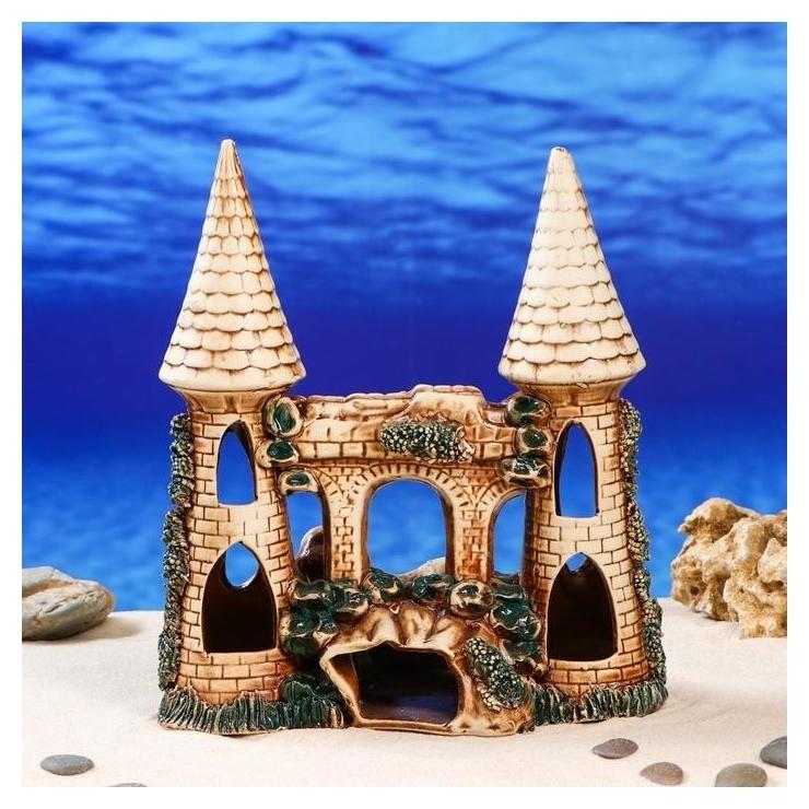 """Декорация для аквариума """"Замок с гротом"""", 14 х 26 х 28 см  Керамика ручной работы"""