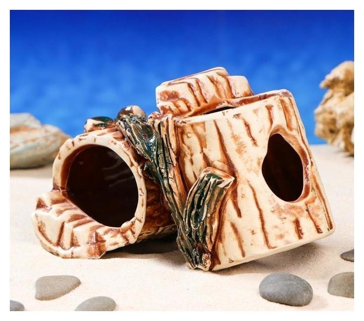 """Декорация для аквариума """"Пень двойной"""", 12 х 18 х 10 см  Керамика ручной работы"""