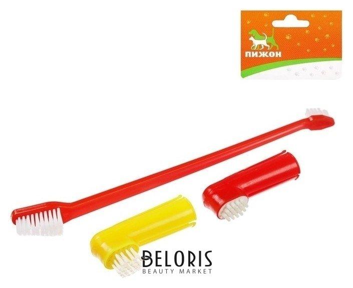 Набор Зубная щетка двухсторонняя + щетка напальчник + массажер для десен (набор 3 шт) Пижон