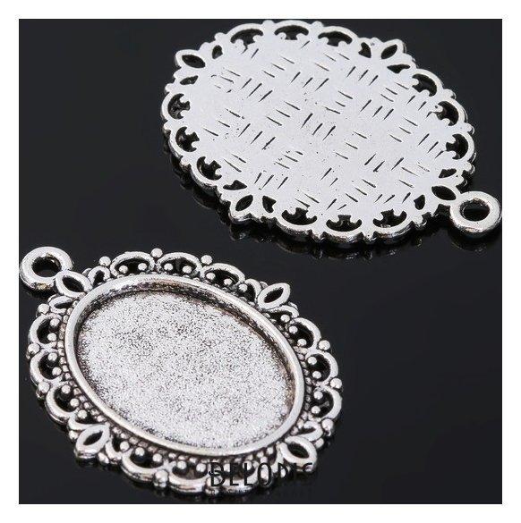 Рамка с сеттингом (набор 4шт), площадка 13*18мм, JC-614, цвет черненое серебро Queen fair