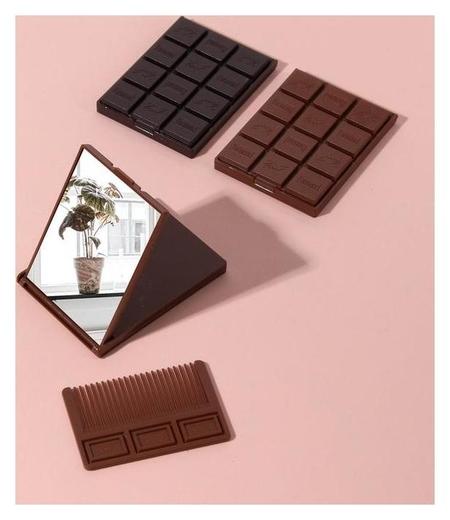 Зеркало складное Шоколадное чудо, с расчёской, цвет коричневый