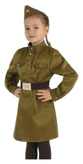 """Карнавальный костюм для девочки """"Военный"""", платье, ремень, пилотка, рост 92-104 см  Страна Карнавалия"""
