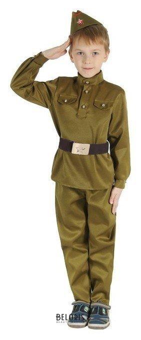 Детский карнавальный костюм Военный, брюки, гимнастёрка, ремень, пилотка, р-р 28-32, рост 110-120 см Страна Карнавалия