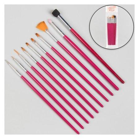 Кисти для наращивания и дизайна ногтей, 10 шт, цвет розовый  Queen Fair