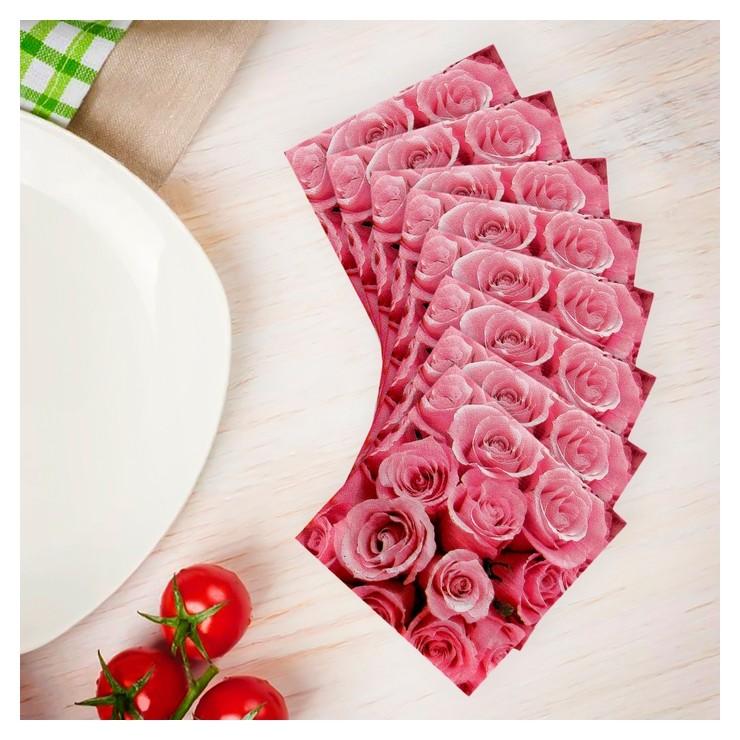 Салфетки бумажные «Розы», 33×33 см, набор 20 шт., цвет розовый  Страна Карнавалия
