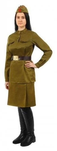 Костюм женский «Военный», гимнастёрка, юбка, ремень, пилотка, 84-92-164, р. 42  Страна Карнавалия