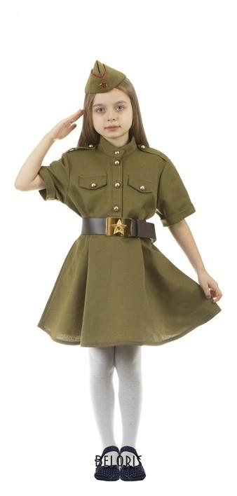 Карнавальный костюм военного: платье с коротким рукавом, пилотка, р-р 36, рост 134-140 см Страна Карнавалия
