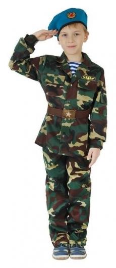 """Карнавальный костюм """"ВДВ"""", китель с манишкой, брюки, берет, ремень, рост 140 см  Страна Карнавалия"""