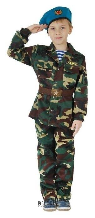 Карнавальный костюм ВДВ, китель с манишкой, брюки, берет, ремень, рост 140 см Страна Карнавалия