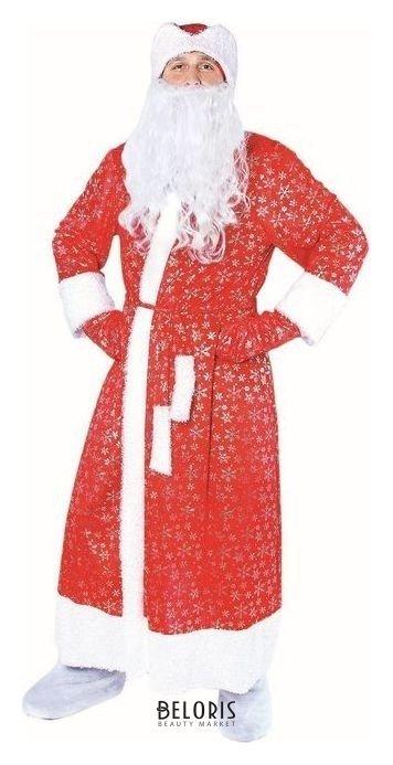 Карнавальный костюм Дедушка Мороз, шуба с кудрявым мехом, шапка, варежки, борода, р-р 52-54, рост 185 см Страна Карнавалия