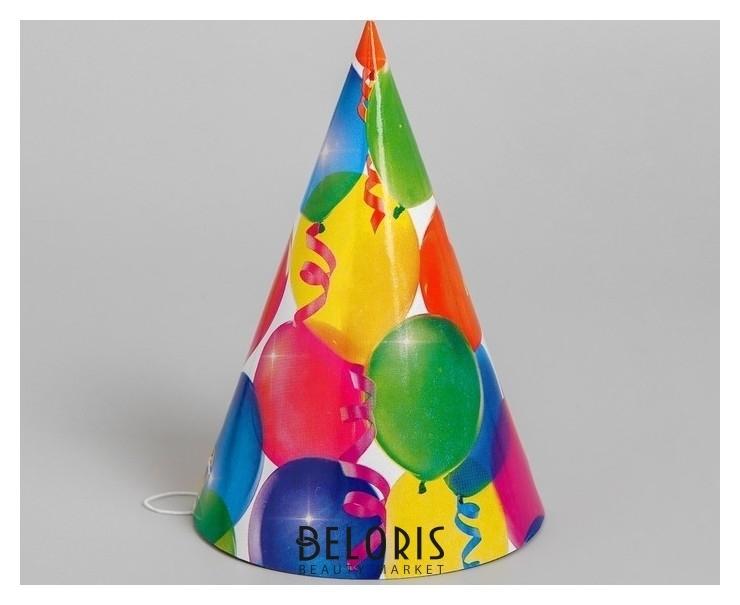 Колпак бумажный «Праздник», шарики и серпантин, набор 6 шт. Страна Карнавалия