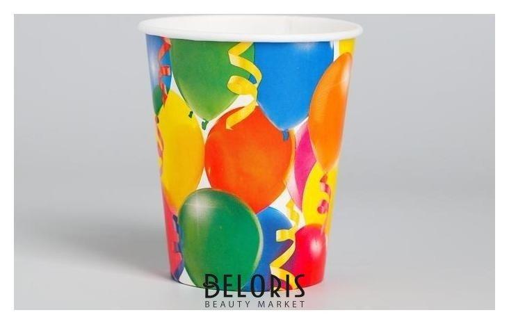 Бумажные стаканы «Праздник», воздушные шары и серпантин, 250 мл, набор 6 шт. Страна Карнавалия