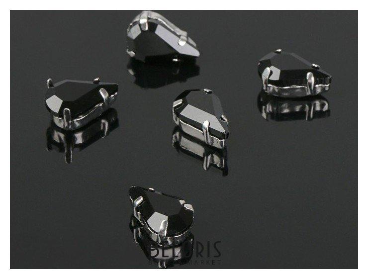 Стразы в цапах (набор 5 шт), 6*10мм, цвет черный в серебре Queen fair