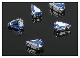 Стразы в цапах (набор 5 шт), 6*10мм, цвет голубой в серебре Queen Fair