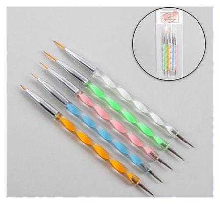 Кисти-дотсы для дизайна ногтей «Волос», 5 шт, 15 см, d = 0,1/0,2/0,2/0,3/0,4 см  Queen Fair
