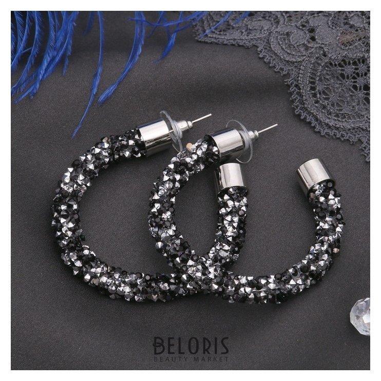 Серьги-кольца Шанталь d=4,5, цвет серебряно-чёрный Queen fair
