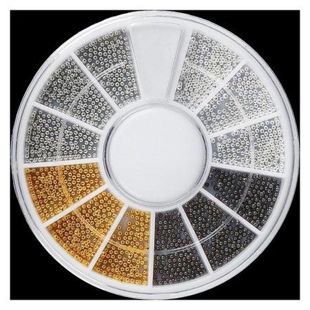 Бульонки для декора, d = 0,8 мм, 12 ячеек, цвет белый/чёрный/золотистый/серебристый  Queen Fair