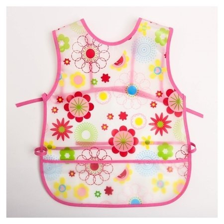 Нагрудник-фартук непромокаемый для девочки, с отворачивающимся карманом, на завязках Крошка Я