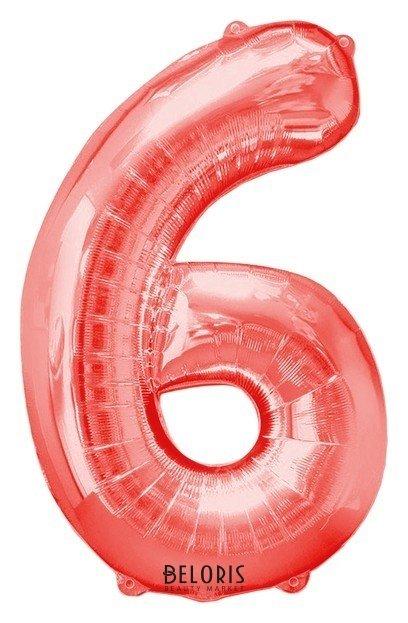 Шар фольгированный 40, цифра 6, цвет красный Страна Карнавалия