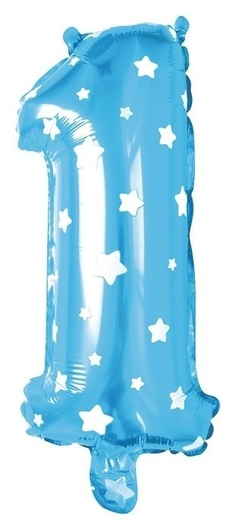 """Шар фольгированный 32"""" Цифра 1, звёзды, индивидуальная упаковка, цвет голубой  Страна Карнавалия"""
