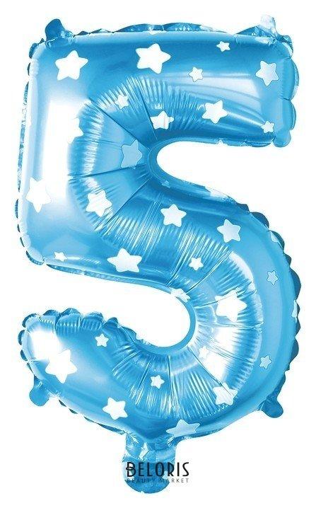 Шар фольгированный 40 Цифра 5, цвет голубой, звёзды Страна Карнавалия