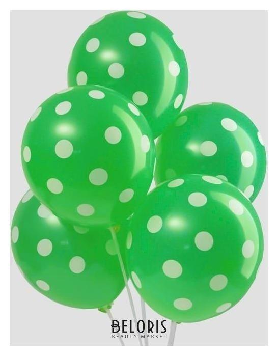 Шар латексный 12Горох, набор 5 шт., цвет зелёный Страна Карнавалия
