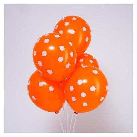 """Шар латексный 12"""" «Горох», набор 5 шт., цвет оранжевый  Страна Карнавалия"""