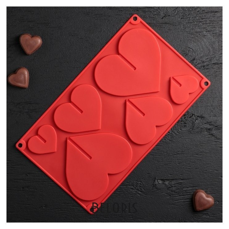 Форма для шоколада 17×29 см «Сердце 3d», 6 ячеек (8,5×6,2 см) Доляна