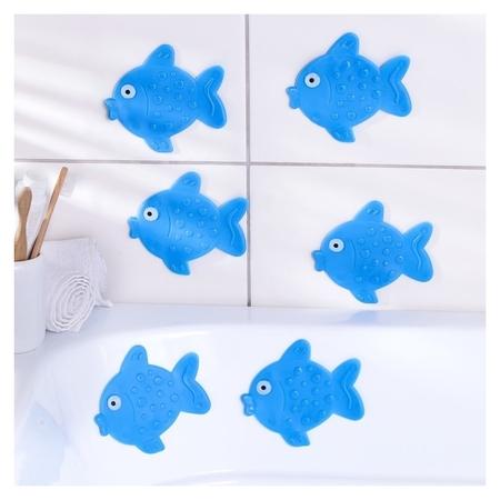 Набор мини-ковриков для ванны «Рыбка», 11×12 см, 6 шт  Доляна