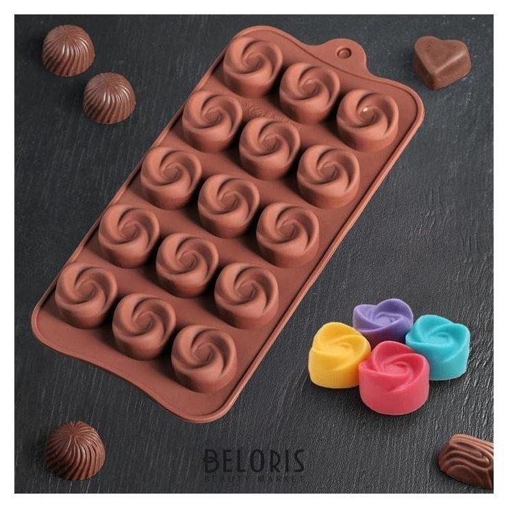 Форма для льда и шоколада 21,5х11,5 см Завиток, 15 ячеек Доляна