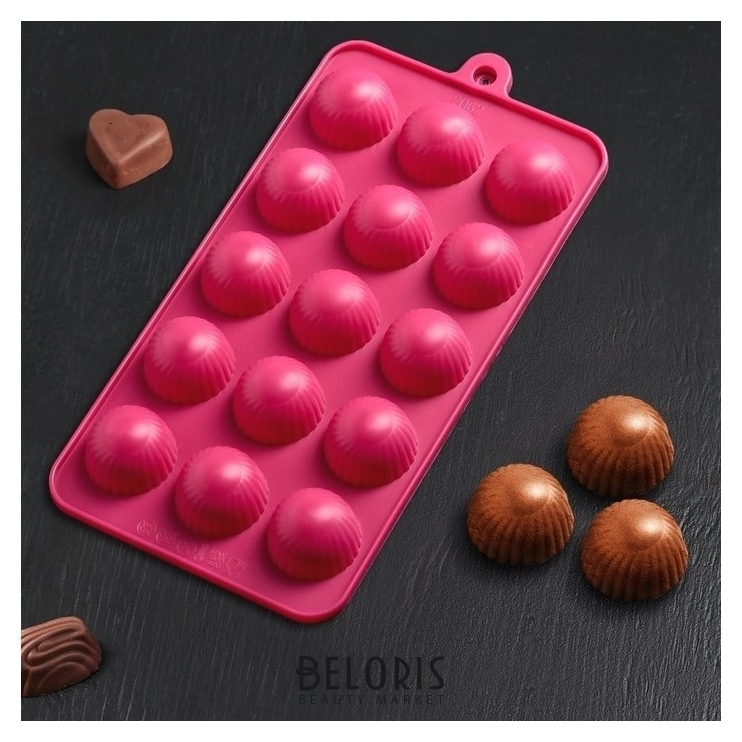 Форма для льда и шоколада «Шарики», 15 ячеек (D=2,8 см), 21×10 см Доляна