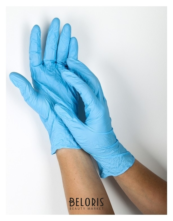 Набор перчаток хозяйственных, нитрил, размер M, 10 шт./5 пар, цвет голубой Доляна