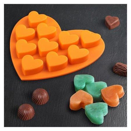 "Форма для льда и шоколада, 10 ячеек, 15х14,5х1,5 см ""Сердечки""  Доляна"