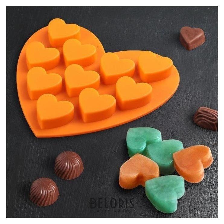 Форма для льда и шоколада, 10 ячеек, 15х14,5х1,5 см Сердечки Доляна