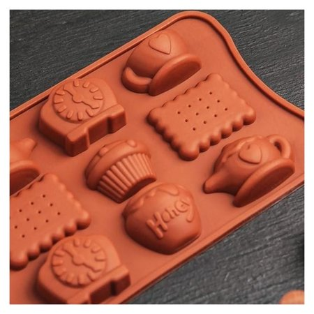 "Форма для льда и шоколада 22,5х10,5х2 см ""Чаепитие"", 12 ячеек"