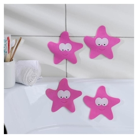 Набор мини-ковриков для ванны «Звезда», 12×13 см, 4 шт  Доляна