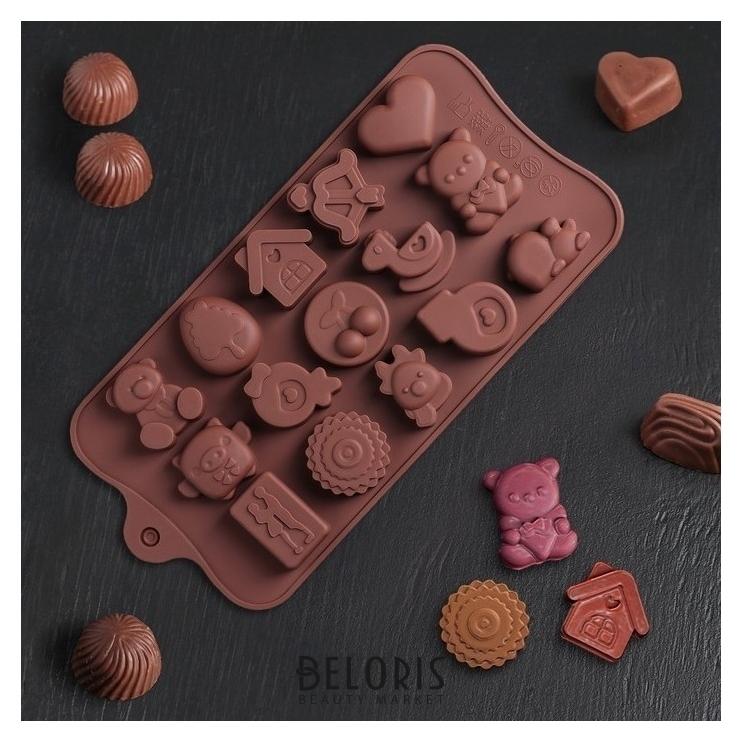 Форма для льда и шоколада «Счастье есть», 21×11×1,5 см, 15 ячеек Доляна