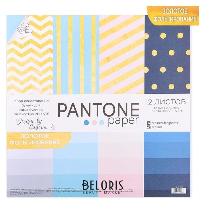 Набор бумаги для скрапбукинга с фольгированием Pantone paper, 12 листов 30.5 × 30.5 см Арт узор