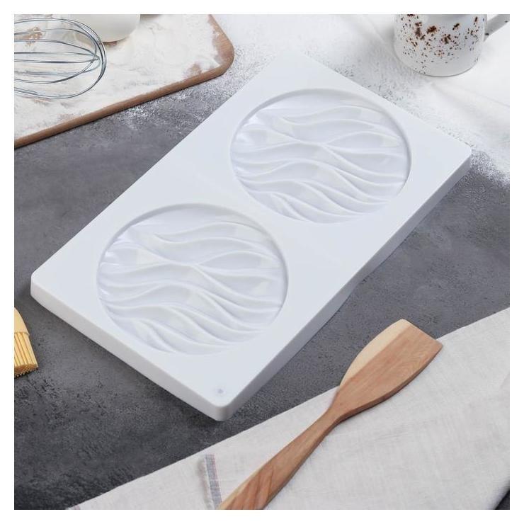 Форма для муссовых десертов и выпечки двойная «Зебрано», 30,5×18 см, цвет белый  Доляна