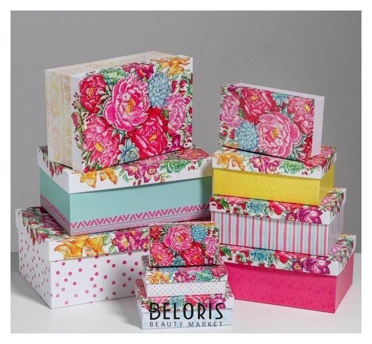 Набор подарочных коробок 10 в 1 «Цветы», 32.5 × 20 × 12.5‒12 × 7 × 4 см Дарите счастье