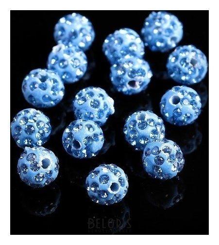 Бусина ШАМБАЛА 8мм (набор 15шт), цвет дымчато-синий Queen fair