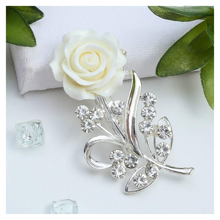 Брошь Цветок, роза нежная, цвет белый в серебре Queen fair