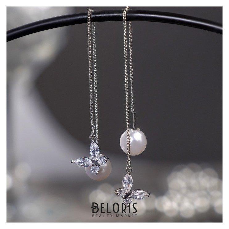 Серьги с жемчугом Цепочки бабочка и бусина, цвет белый в серебре, шар №10 Queen fair