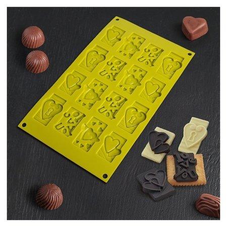 Форма для шоколада «Любовь», 28,7х17,4х0,8 см, 16 ячеек  Доляна