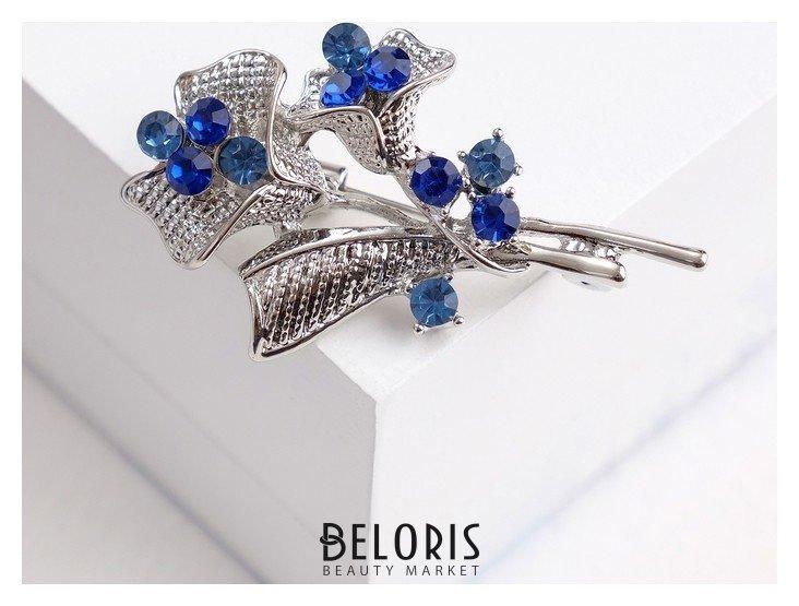 Брошь Цветы незабудок букет, цвет сине-голубой в серебре Queen fair