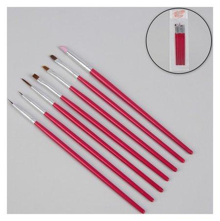 Набор кистей для наращивания и дизайна ногтей, 7 шт, 18 см, цвет розовый  Queen Fair