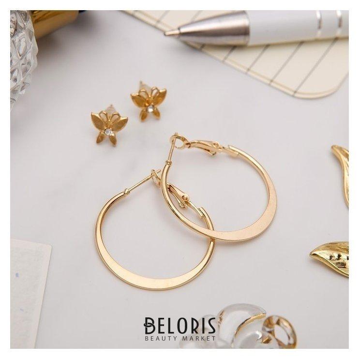 Серьги-кольца с пуссетами Бабочка, цвет золото, d=2,5 см Queen fair